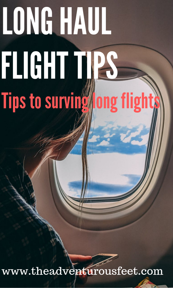 Looking for long haul flight tips? This post which show you everything you need to on a plane to survive a long haul flight. #longhaulflighttips #longhaulflight #survivalguidetolongflights #flighttips #howtoservealongflight