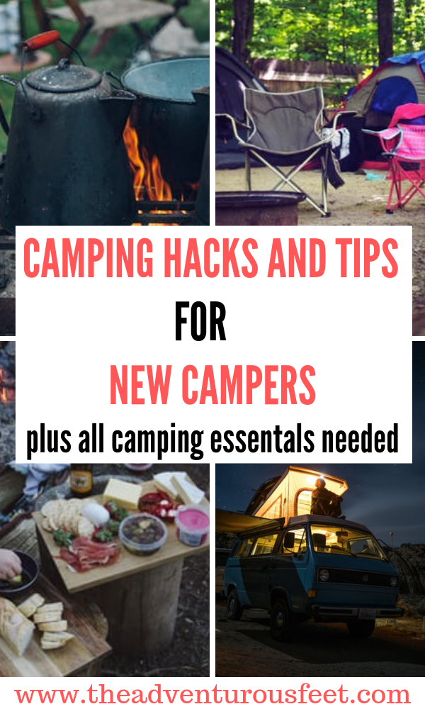 Are you a camping beginner? This post will show you all the camping hacks, camping tips and trick plus the camping essentials| camping gear you need for an amazing camping trip.|camping ideas for beginners|camping meals ideas|camping checklist |camping tips and tricks for beginners| camping packing list| things to take camping | camping hacks from a frugal camper. #campingtipsforbeginners #campinghacksforfirsttimecampers