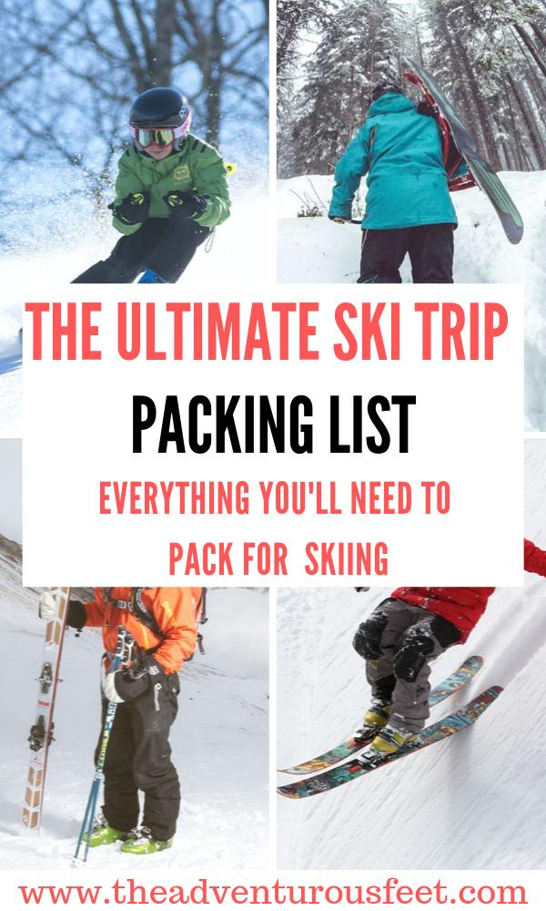 Heading up to the mountains for ski runs? Here is the ultimate ski trip packing list to guide with what to take. #ski packing list | ski trip essentials | what to pack for a ski trip | what to take on a ski holiday | packing list for a ski trip | things you need for skiing #skitripchecklist #skipackinglist #skiingclothesguide #theadventurousfeet