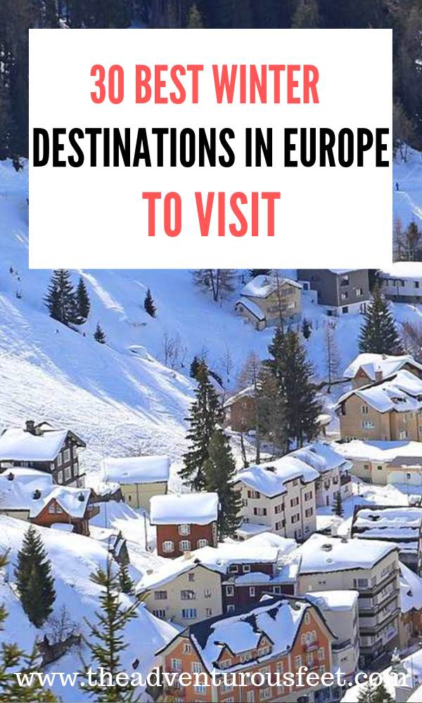 Want to experience Europe in winter? Here are the best winter destinations Europe to add to your bucket list.  Best places to visit in Europe in winter  Best European cities to visit in winter   Europe in winter   European winter destinations  where to enjoy the snowy winter in Europe #bestwinterdestinationsineurope #placestovisitinwinterineurope #europeanwinterdestinations #theadventurousfeet