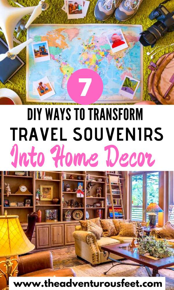 Want to use your travel souvenirs in a creative way? Here are the best DIY ways to transform travel souvenirs into home decor.| how to make home decor out of travel souvenirs | travel crafts ideas you'll love| travel diy craft ideas | crafts for travel ideas | travel map craft ideas | travel crafts diy good ideas| travel crafts | diy travel crafts|travel crafts for kids easy diy| diy travel ideas creative| diy travel crafts memories #honedecortravelcrafts #diytravelcrafts #interiordecorwithtravelcrafts #theadventurousfeet