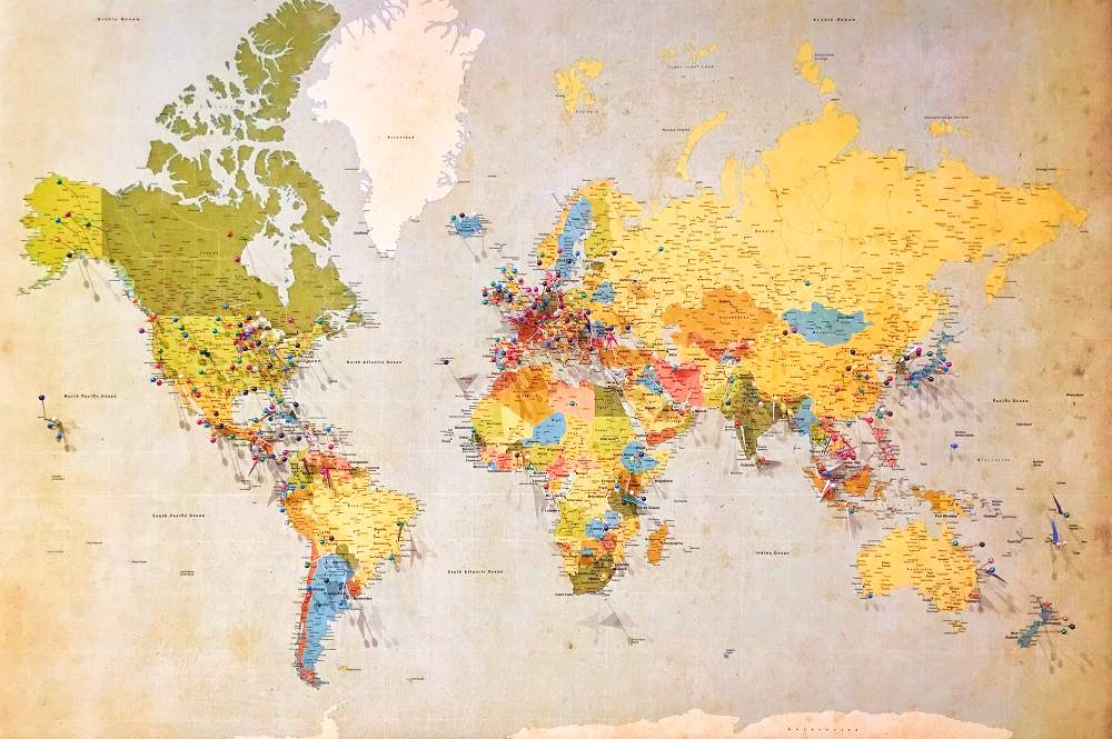 how to transform a travel map into home decor using pushpins