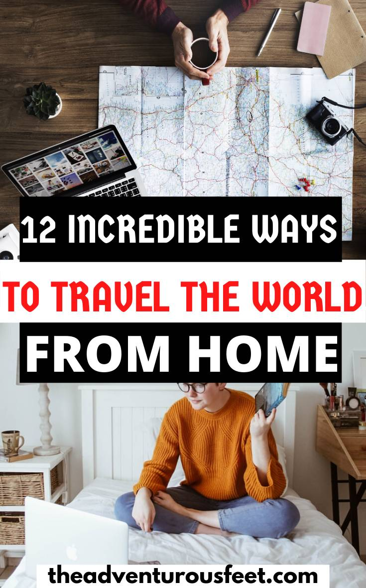 Stuck at home and can't travel? Here are the best travel related things to do at home. | things to do when you can't travel | things to do at home when not traveling | things to do when you're not traveling | travel things to do at home | how to kill bored when you're not traveling | best travel books to read | best travel movies to watch | best travel board games to play| how to stay busy at home when not traveling | things to do at home when not traveling | how to travel from home| travel the world from home| ways to travel the world from home #travelfromhome #virtualtours #coolthingstodoathome #theadventurousfeet