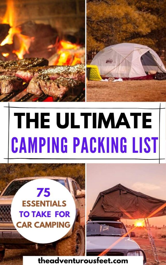 Planning to go for a car camping trip? Here is the complete camping packing list with everything you'll need| car camping essentials| packing list for car camping | car camping checklist packing lists|  camping essentials list| camping essentials list for women|  what to pack for camping| what to pack for a camping trip | what to pack for camping in a camper| things to take camping| camping gear checklist| camping gear gadgets| things to carry for camping| camping outfits #campingessentials #carcampingpackinglist #packingforcampingtrip